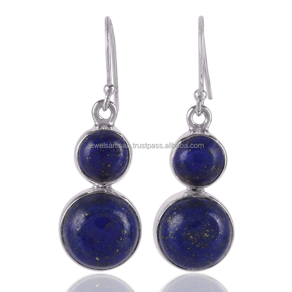 2017 Luxury Style Dark Blue Lapis Lazuli Gemstone 925 sterling Silver Dangle Earring
