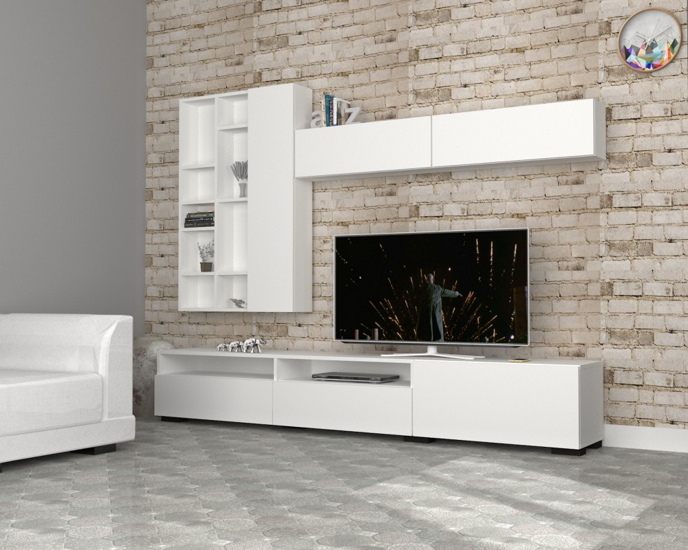 Kary New Design Tv Unit Modern Living Room Wood Storage Cabinets Stand Hall Cabinet Long Led Product On