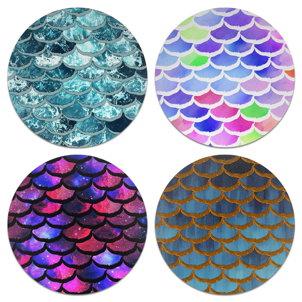 CARIBOU Coasters Mermaid Scales Design Absorbent Neoprene Coasters for Drinks, 4pcs Set