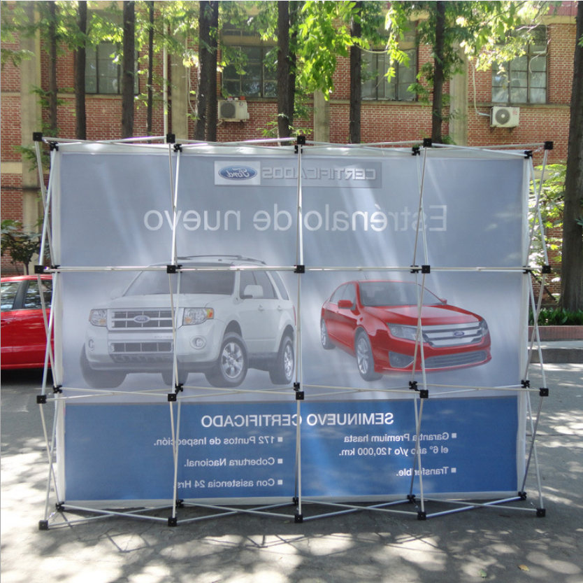 Quick pop up display fabric banner wall stands