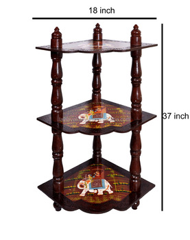 Home Decor Wooden Corner Shelf Brown Indian Side 3 Tier Shelves Unit 37quot