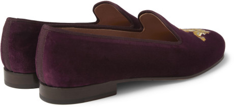 Purple Slipper Loafer Velvet Men Shoes Embroidery WgHw0wqfP