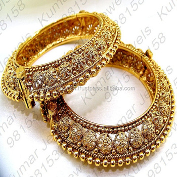 fca0fd8f54e Traditional Indian Gold Plated 22kt Embossed Filigree Work Handmade  Artificial Ladies Wear Fancy Side Lock Openable