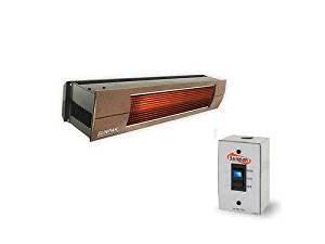 QBC Bundled Sunpak Two Stage Hardwired S34-B-TSH-12020-3-BRONZE (25,000 BTU and 34,000 BTU) Hanging Patio Heater Black Natural Gas (NG) - Bronze Front Fascia Kit - Plus Infrared Heating QBC eGuide