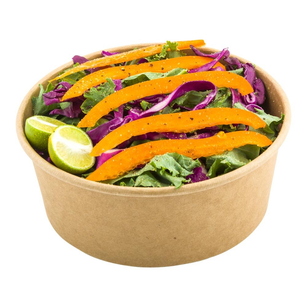 Round Food Container, Round Salad Container - Take Out, To Go - 25 oz - Kraft - Lid Sold Separately - Bio - 200ct - Restaurantware