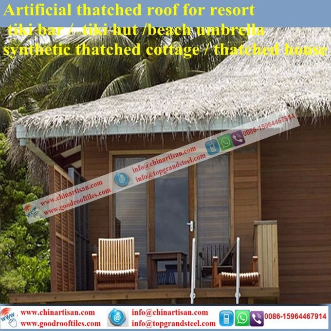 China Fireproof Plastic Synthetic Thatch Artificial Thatched Roofing For  Luxury Villa Tropical/Island