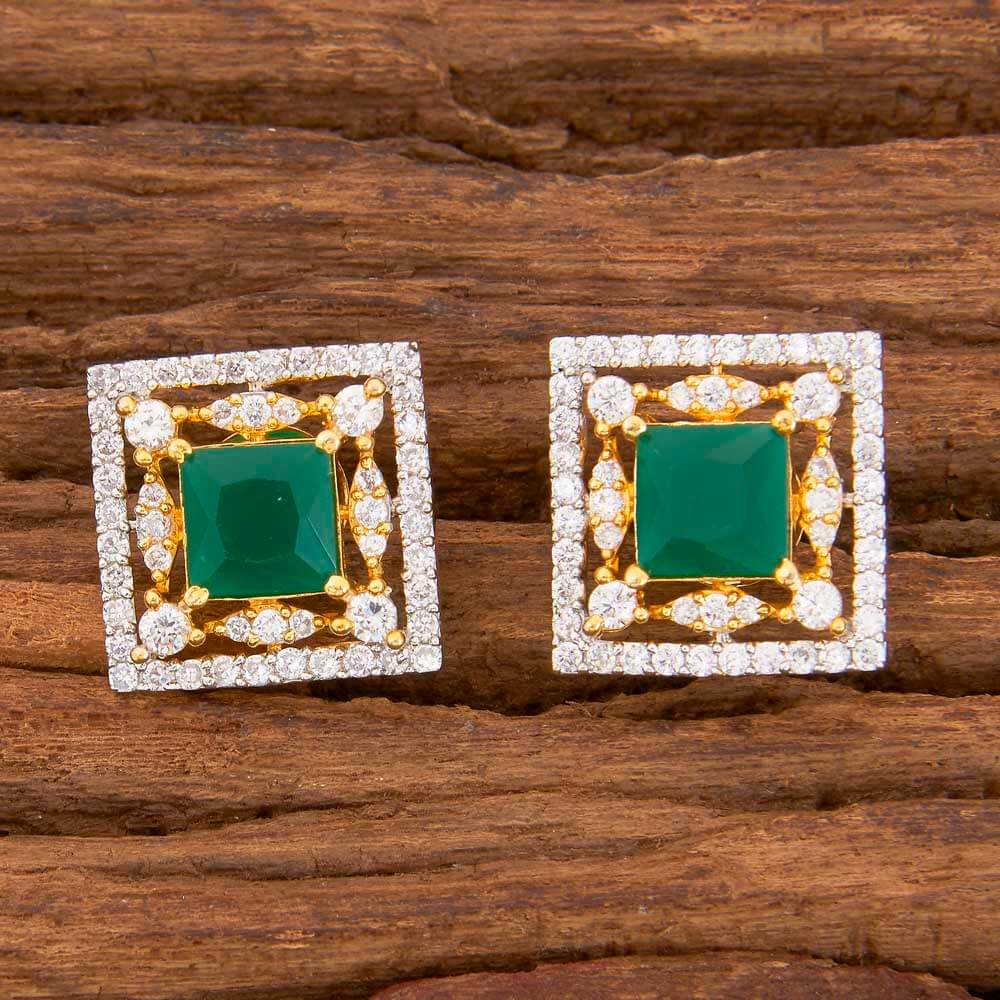Cz 2 Tone Plated Stud Earring With Handmade Jewelry 58510 Green