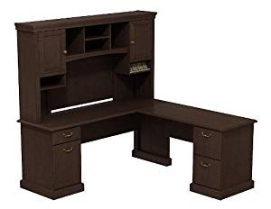 "Bush L Shaped Desk W/Hutch 72"" X 72"" Constructed W/100% Thermally Fused Laminate Contains Two File Drawers, One Box Drawer & One Door W/Adjustable Shelf For Storage - Mocha Cherry"