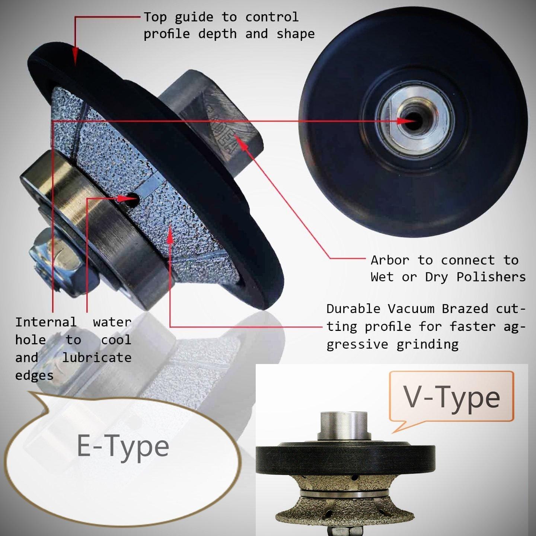 "V20 (3/4"") Full-bullnose E20 (3/4"") Bevel Bullnose Diamond Hand Profiler/Router Bit (5/8-11 Thread) Granite Concrete Travertine Quartz Countertop edge FREE Priority shipping"