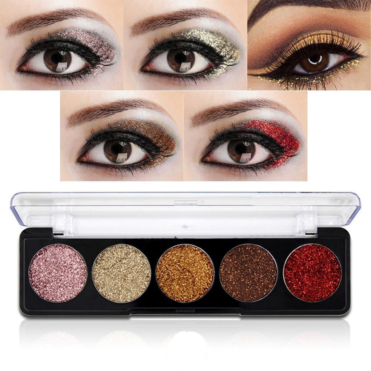 Get Quotations · Glitter Powder Makeup Palette,Vodisa Pressed Glitter Eyeshadow Palette Long-Lasting Metallic Shimmer Eye