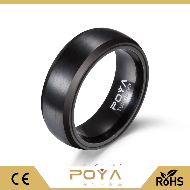 Poya 8mm Black Tungsten Carbide Ring Inset Anodized Aluminum Wedding Band Exotic Bands