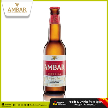 Gluten Free Lager Beer Bottle from Oldest Brewery in Spain Wholesale | AMBAR ESPECIAL Bottle 33cl | La Zaragozana