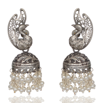 71e9bfe6e Latest Collection 2018 Solid Silver Oxidised Jhumka Earring - Buy ...