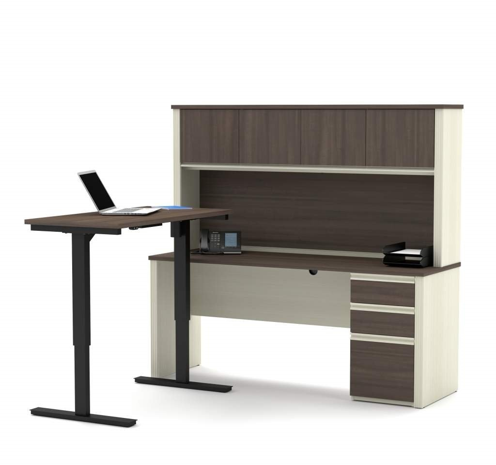 """Bestar Sit Stand Desk Overall: 71.1"""" X 70.9"""" X 66.9"""" Credenza : 71.1"""" X 22.4"""" X 30.4"""" Height Adjustable Table : 47.6"""" X 24"""" X 28"""" - 45"""" - White Chocolate & Antigua"""