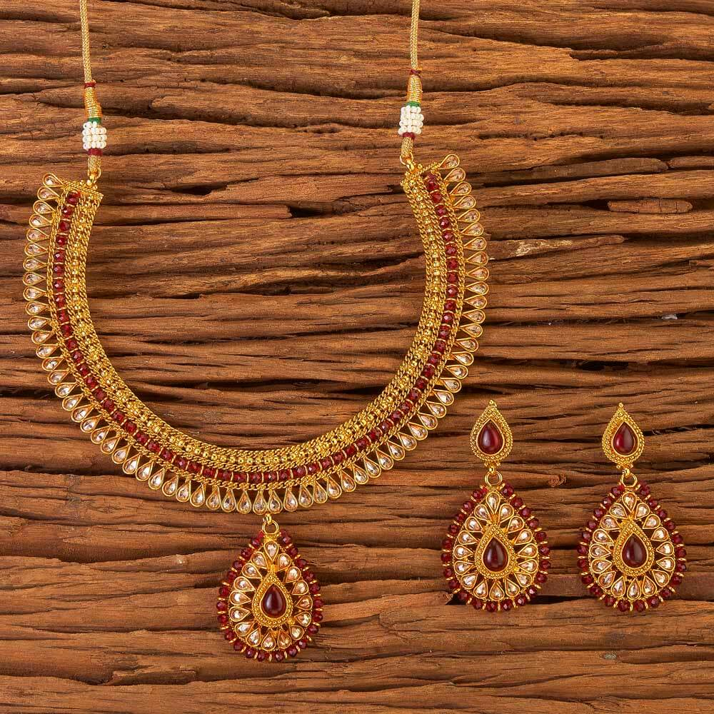Gold Plated Classic Necklace Set 17542 Ruby