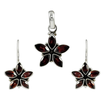 Amazing look red garnet gemstone floral jewelry set handmade 925 sterling silver jewellery wholesaler