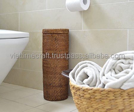 Bathroom Accessories Made From Rattan Toilet Roll Holder Brown Colorful Set