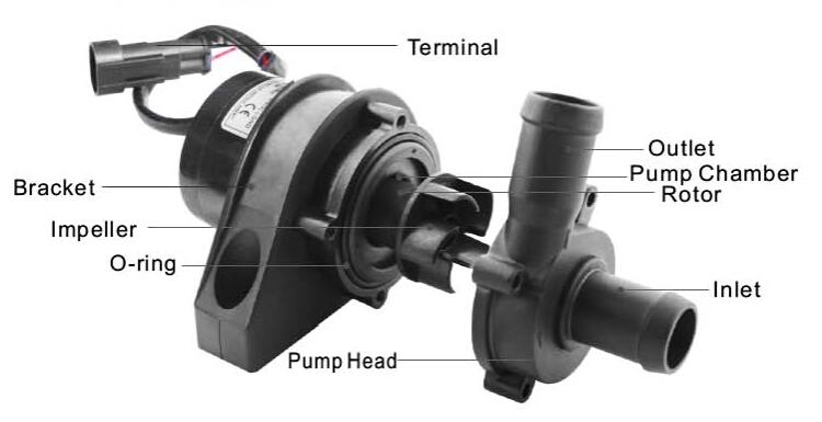 12V/24V High quality brushless DC Car radiator pump TA50