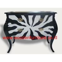 Commode Zebra Animal Print Bombay Chest French Style Chest Antique Side Board Mahogany Painted Chest European Home Furniture