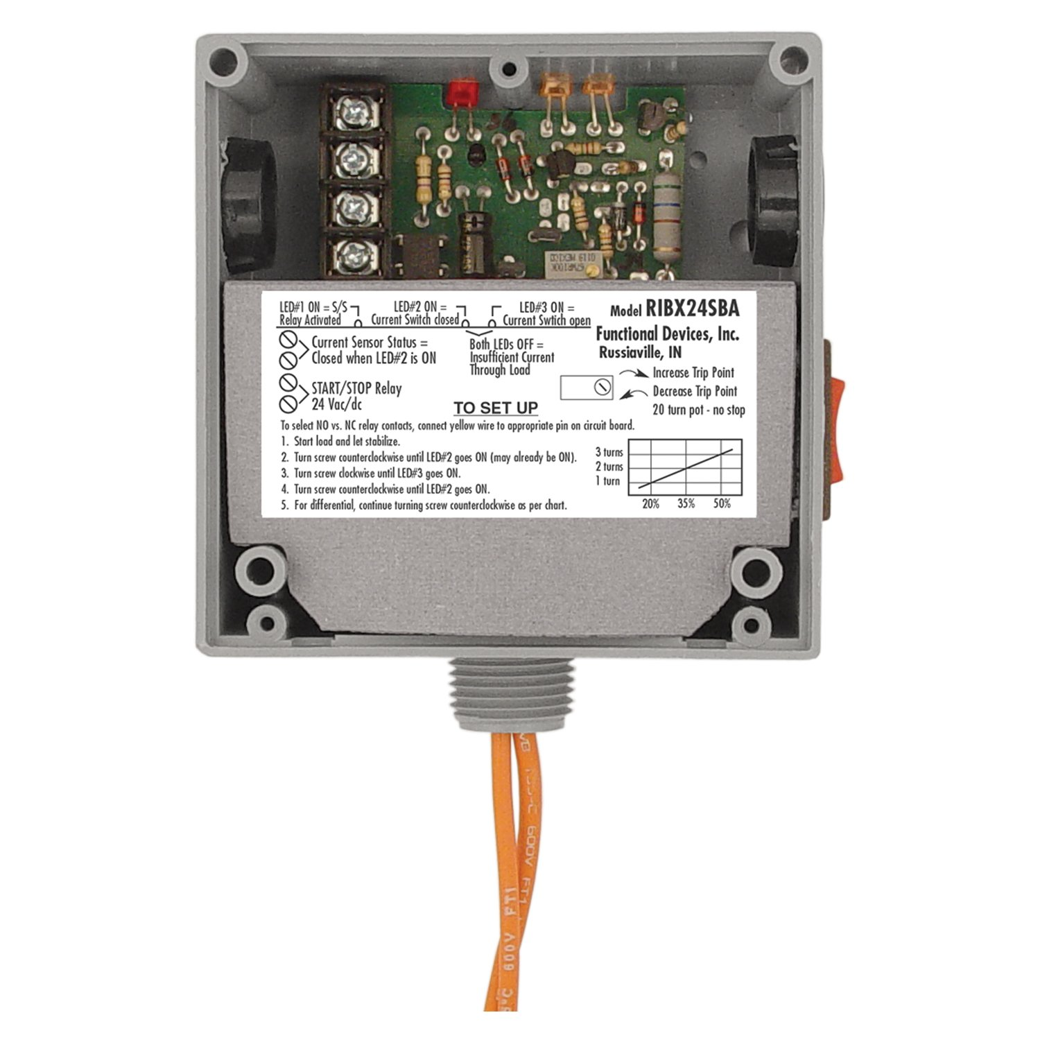 Functional Devices (RIB) RIBX24SBA Enclosed Internal AC Sensor, Adjustable + Relay 20Amp SPST + Override 24Vac/dc