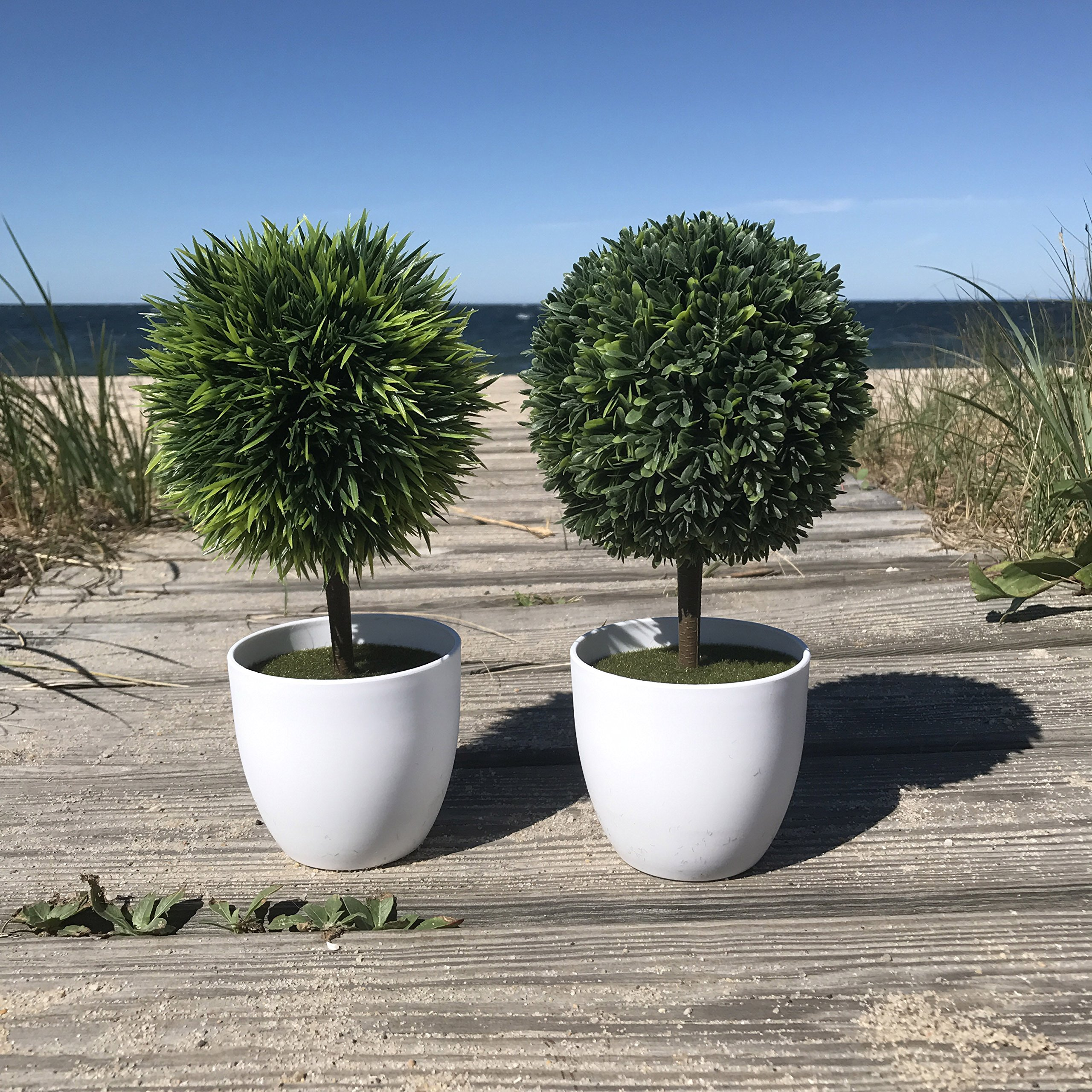 The Realistic Faux Mini Ball Topiary Tree Plants in White Pots, Set of 2, Includes 1 Boxwood Ball, 1 Grass Ball, 9 3/4 Inches Tall, Plastic, Gift Pack, By Whole House Worlds
