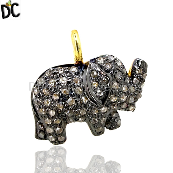 925 Silver 14k Gold Elephant Charm Pendant Wholesale Pave Diamond Pendant Indian Jewelry Finding Supplier