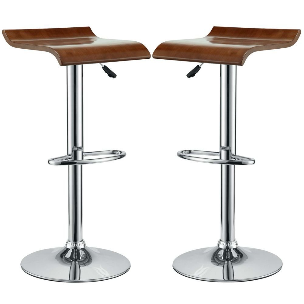 """Bar Stool Set of 2 Oak Dimensions: 14.5""""W x 14""""D x 24.5-32.5""""H Weight: 54 lbs"""