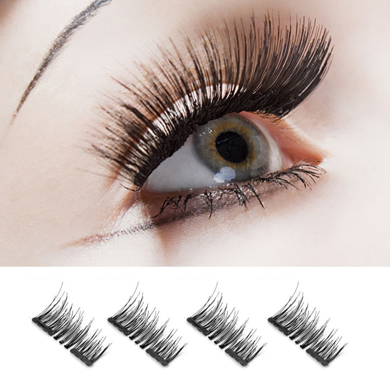 16d9ff8592e Get Quotations · False Eyelashes and Adhesives Magnetic Fake Eyelashes 3D  Double Magnets Fake Eyelashes Reusable False Eyelashes Pack