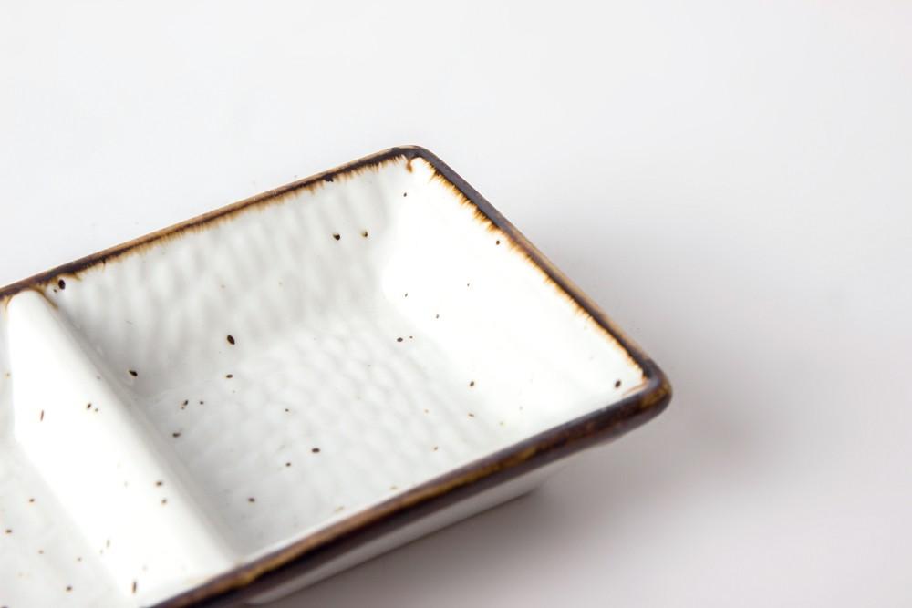 product-Two Eight-Ceramic Tableware Three Grid Dish Sushi Dish Snack Plate Dish Dessert Plate-img