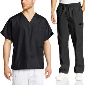 65%/35% polyester cotton Mens V-neck scrubs sets Medical uniform for doctor
