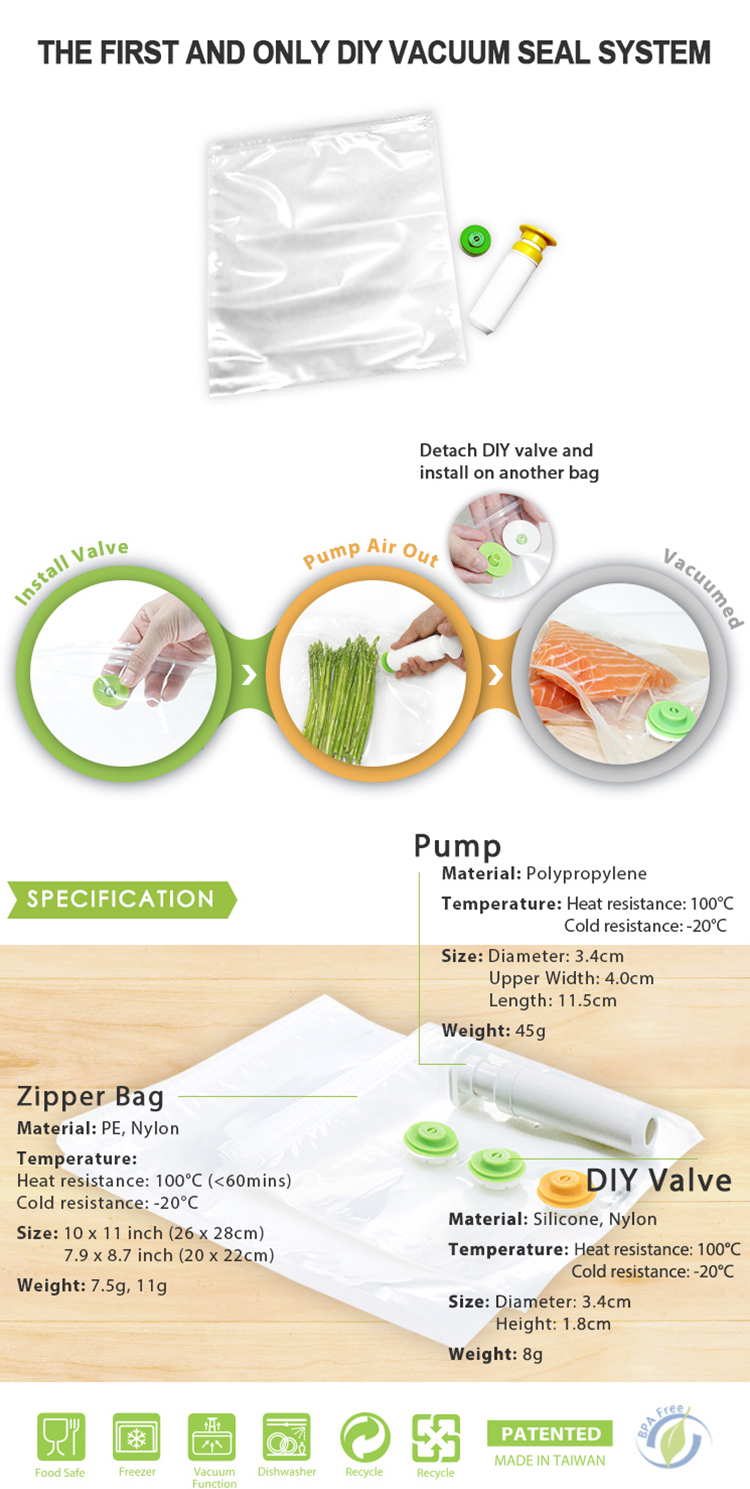 Thick Embossed Vacuum Seal Food Storage Bags Pump