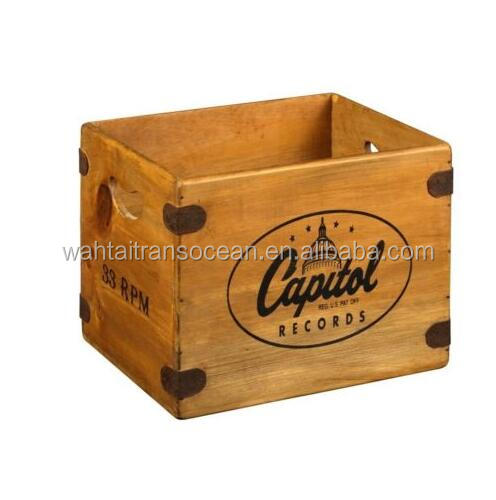 vintage record box 12 lp wooden album crate capitol records retro vinyl storage buy wooden. Black Bedroom Furniture Sets. Home Design Ideas