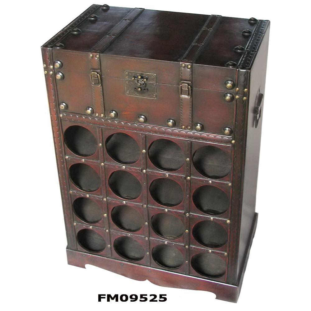 Vintage Wooden Wine Rack Cabinet For 16
