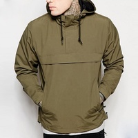 Men`s Soft Shell Hooded Light Weight Fashion Clothing Pullover Splicing Drawstring Hooded Windproof Jacket