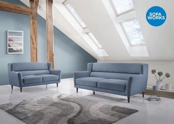 Wooden Leg Fabric Sofa Home Furniture Double Spring Sofa Elegant