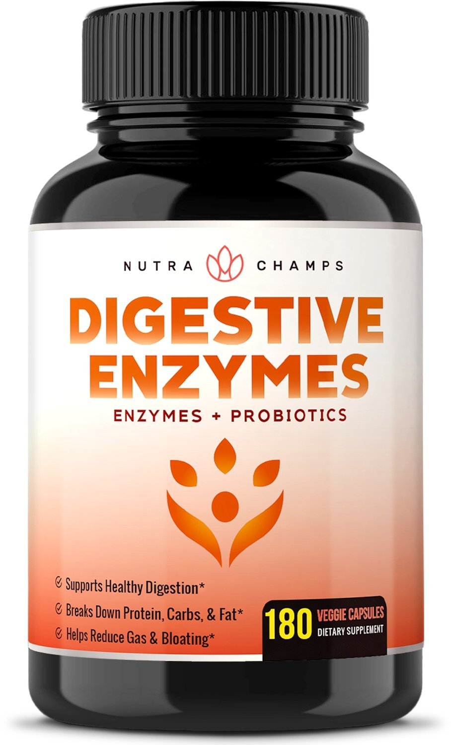 Digestive Enzymes with Prebiotics & Probiotics 180 Vegan Capsules - Better Digestion & Nutrient Absorption - Natural Multi Enzyme Supplement. Helps Bloating, Gas, Discomfort, IBS & Lactose Intolerance