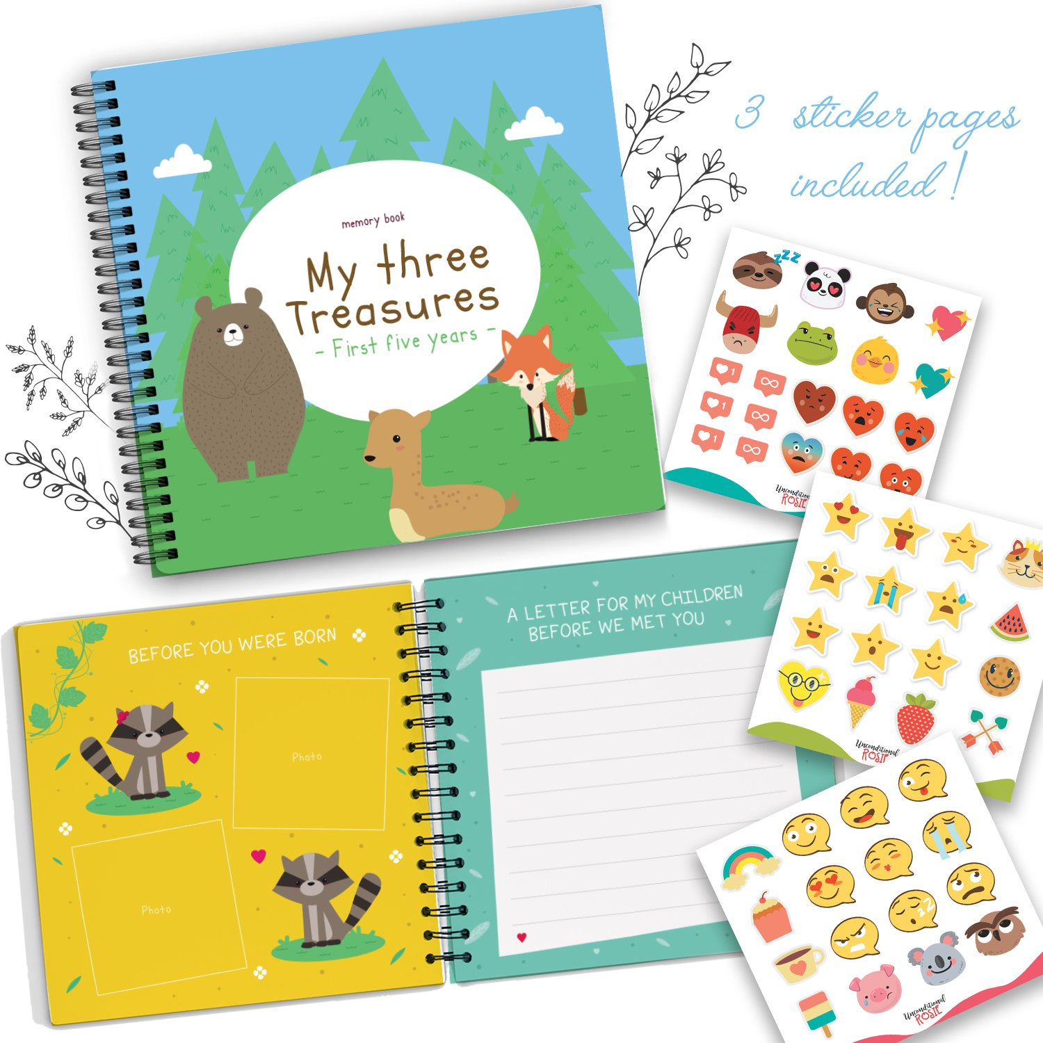 5211eefb Get Quotations · Triplets Memory Book by Unconditional Rosie - A Beautiful  Baby Memory Book For Documenting Your Triplets