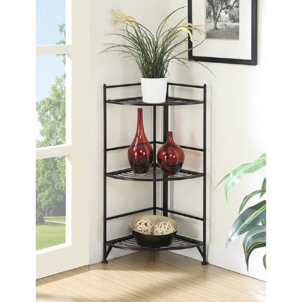 Corner Shelf Folding Organizer Storage Home Furniture Living Room Bookcase Stand 3 Tier Rack
