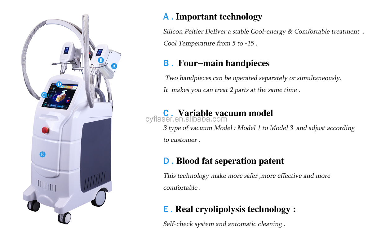 Salon use 4 cryo handles cryotherapy vacuum body slimming cryolipolysis machine for sale