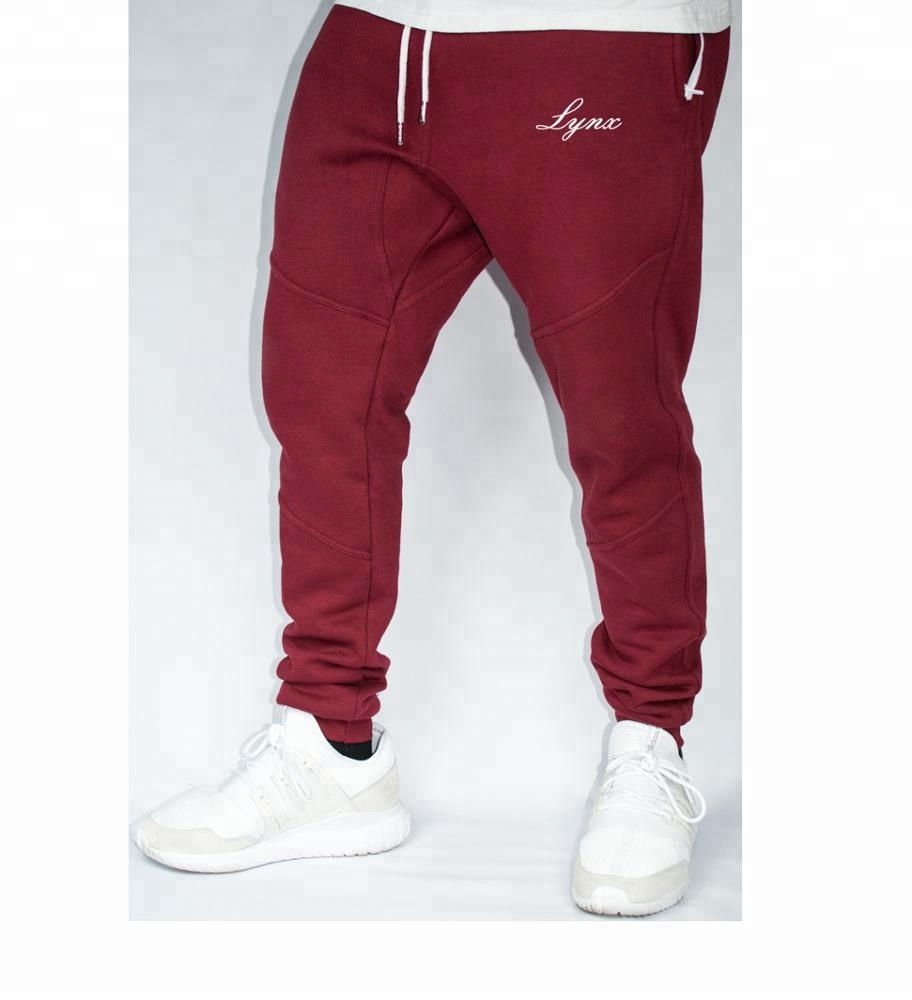 3f2fa90c4 Burgundy Zipper Pocket Sweat Pant Tapered Fitted Joggers Pant ...