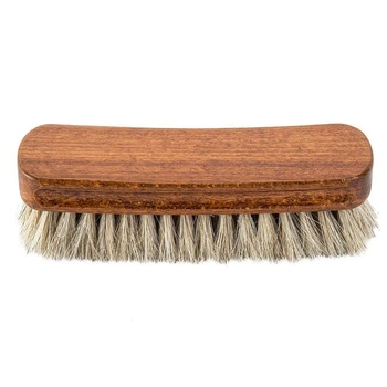 A PRETTY HORSE HAIR BRISTLES 6X2 INCHES NATURAL COMFORTABLE WOODEN SHOE POLISH BUFFING BRUSH