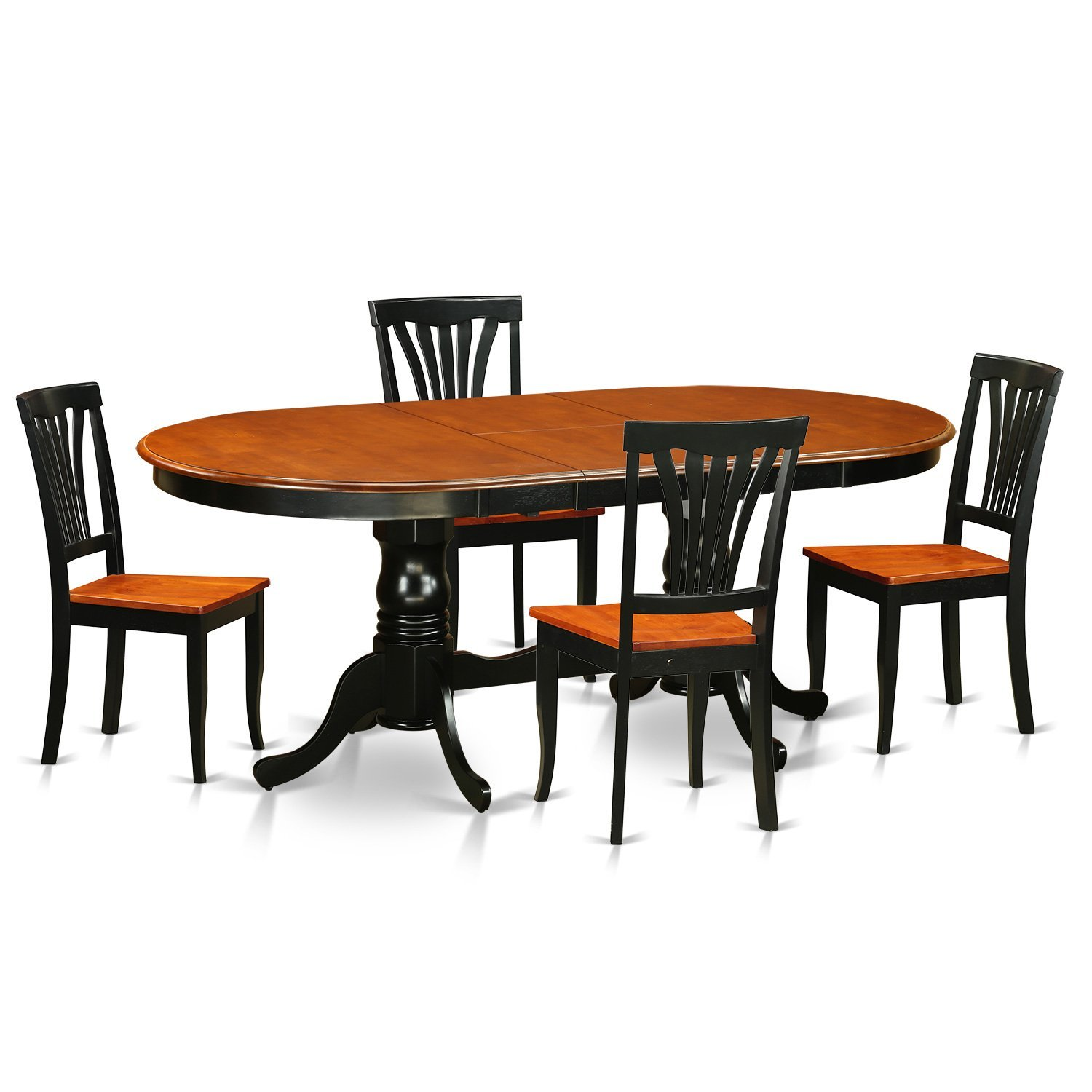 East West Furniture PLAV5-BCH-W 5 Piece Dining Table with 4 Solid Chairs Set