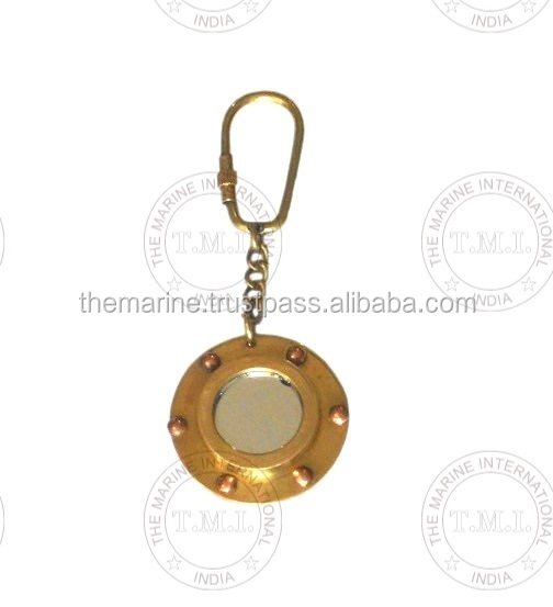Porthole Mirror Key Chain Nautical Brass Key Ring ~ Collectible Marine Miniature Porthole for Key Ring