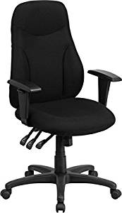 """Flash Furniture Executive Office Chair Overall Dimensions: 24.5""""W X 23""""D X 42-47.25""""H Seat Size: 20.5""""W X 19""""D Back Size: 20""""W X 24.75 - 26.5""""H - Black"""
