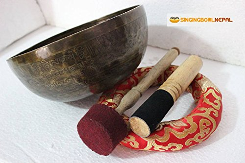"6"" Meditation Mantra Carved G Note Singing Bowl, Etching Tibetan Art, Hand Hammered Singing Bowls with Silk Cushion, Gong & Mallet Striker"