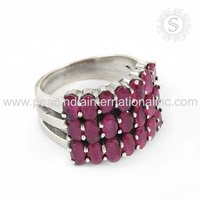 Pink ruby jewelry findings silver ring 925 sterling silver rings manufacturer wholesalers