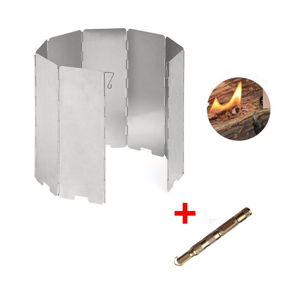 Aluminum 8 Plates Windscreen Camp Stove Windshield, Flint Fire Starter Included,Split Cooking Range Wind Shield Portable Picnic Gas Stove Wind Deflectors
