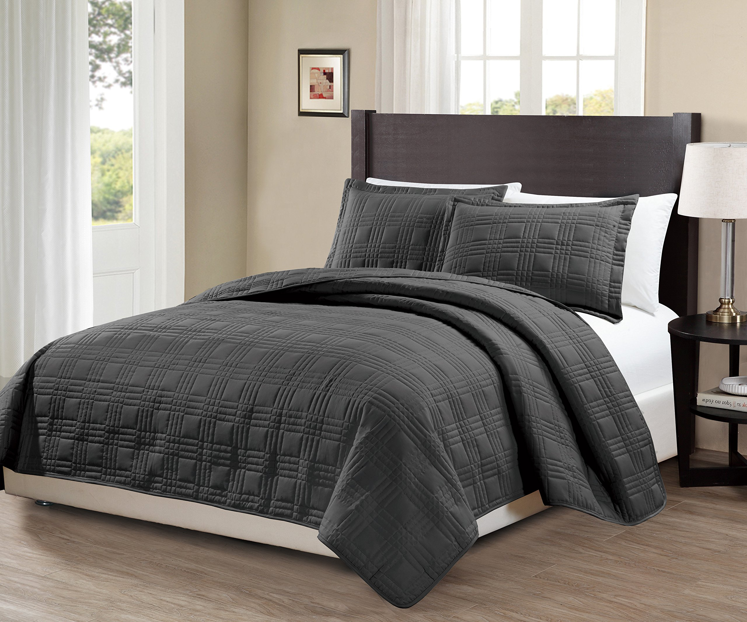 Fancy Collection 3pc King/California King Oversize Quilted Bedspread Coverlet Set Embroidery Solid Dark Gray/Charcoal New