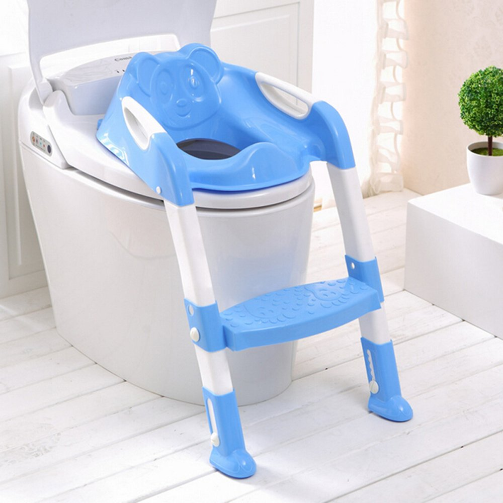 Genmine Potty Toilet Seat With Ladder for Kids Baby, Children's Toilet Seat Chair Step Trainer Ladder Toddlers Toilet Training Step Stool Cover With Handles Toilet Folding Chair for Boys Girls (Blue)