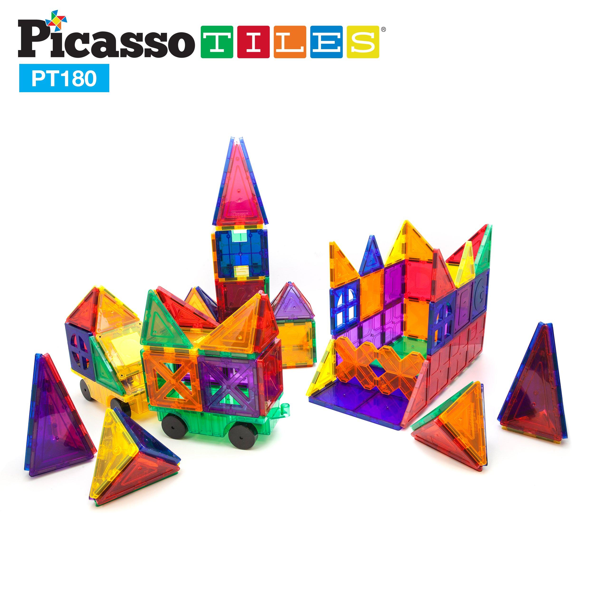 PicassoTiles 180 Piece Set 180pc Building Block Toy Deluxe Construction Kit Magnet Building Tiles Clear Color Magnetic 3D Construction Playboards Educational Blocks Creativity Beyond Imagination